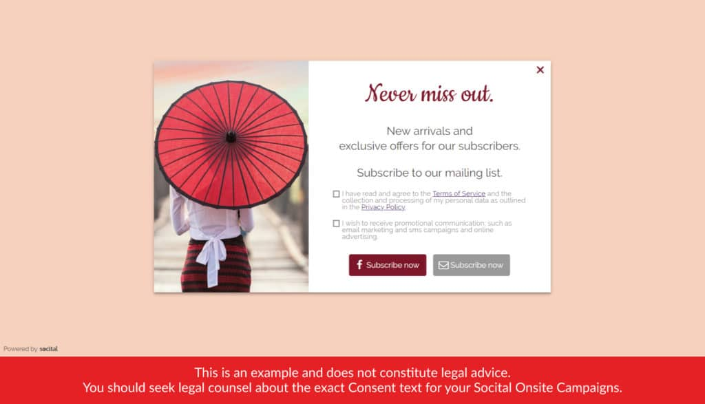 onsite pop-up with the marketing and generic consent
