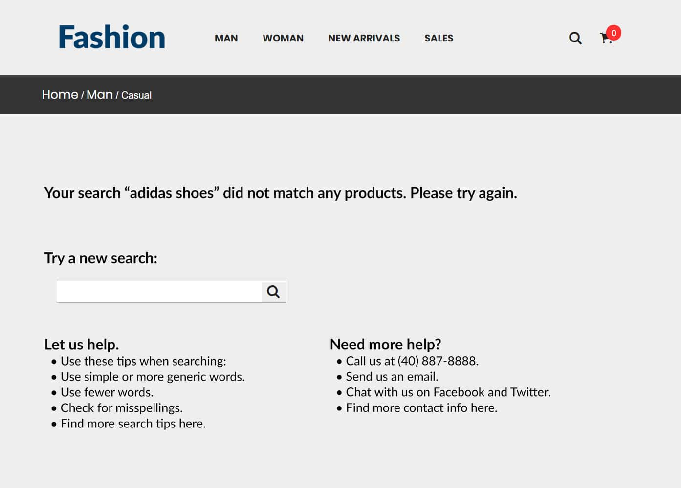 Your search did not match any products