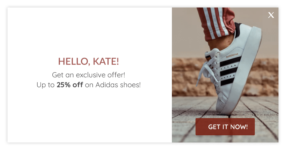 personalized welcome message with product recommendations