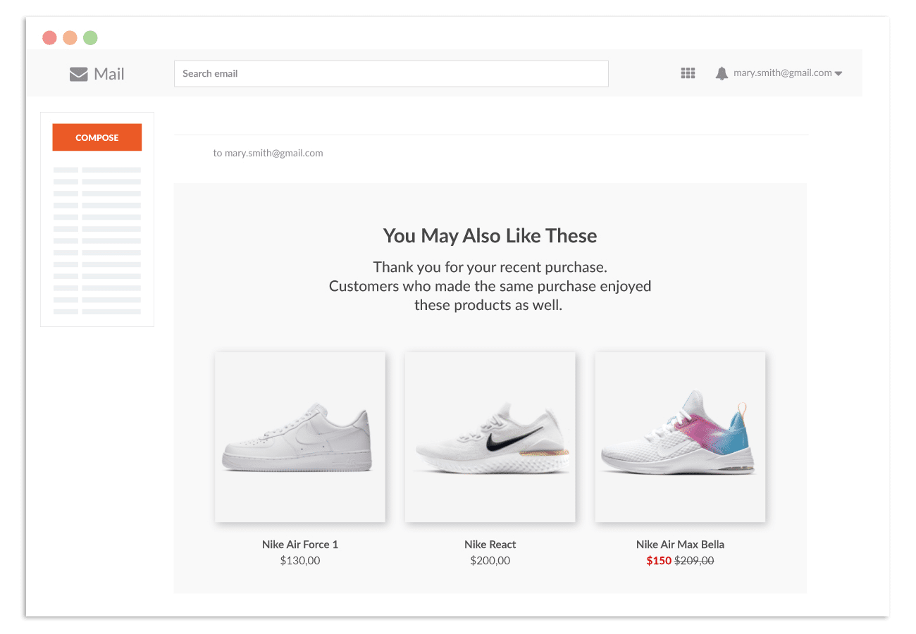 product recommendation emails