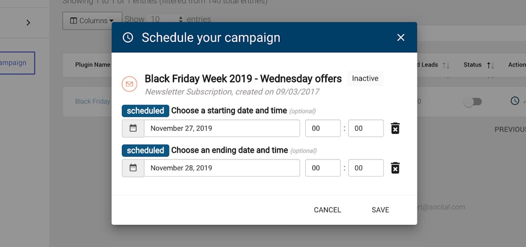 campaign scheduler in Socital app