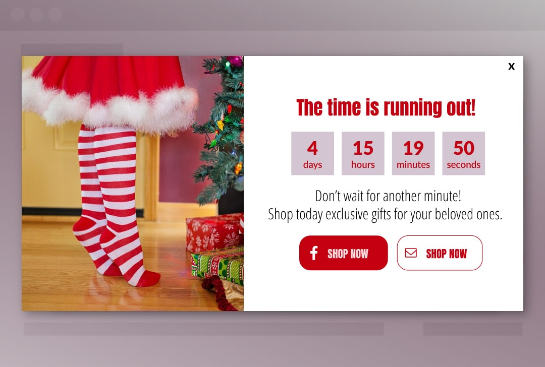 countdown timer popup for the festive season