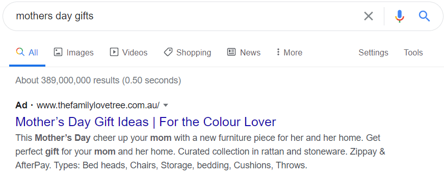 example of Google search ads for Mother's Day