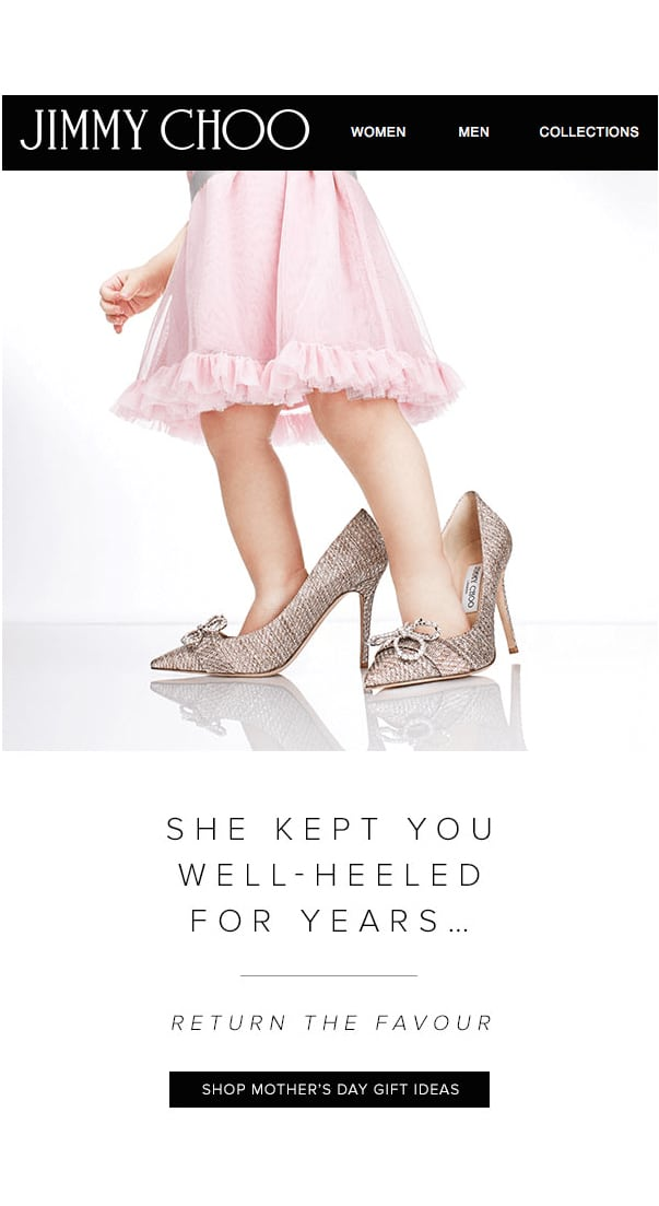 email marketing campaign for Mother's Day with wishlists, gift guides or coupon codes