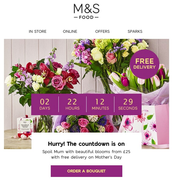 countdown timer newsletter for Mother's Day