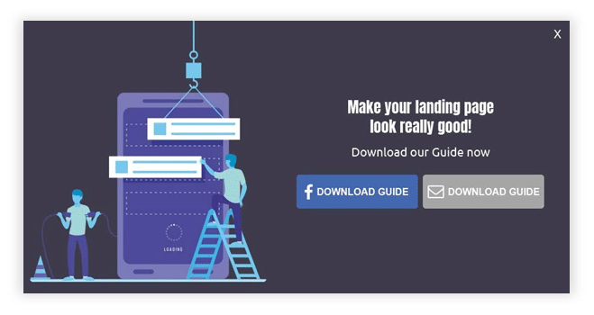 landing page with an social media CTA button