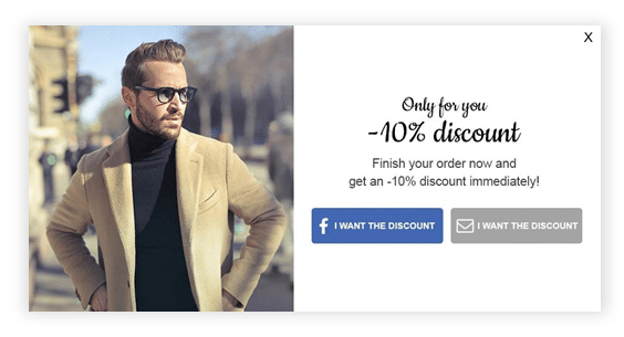 exit-intent pop-up with a coupon offer