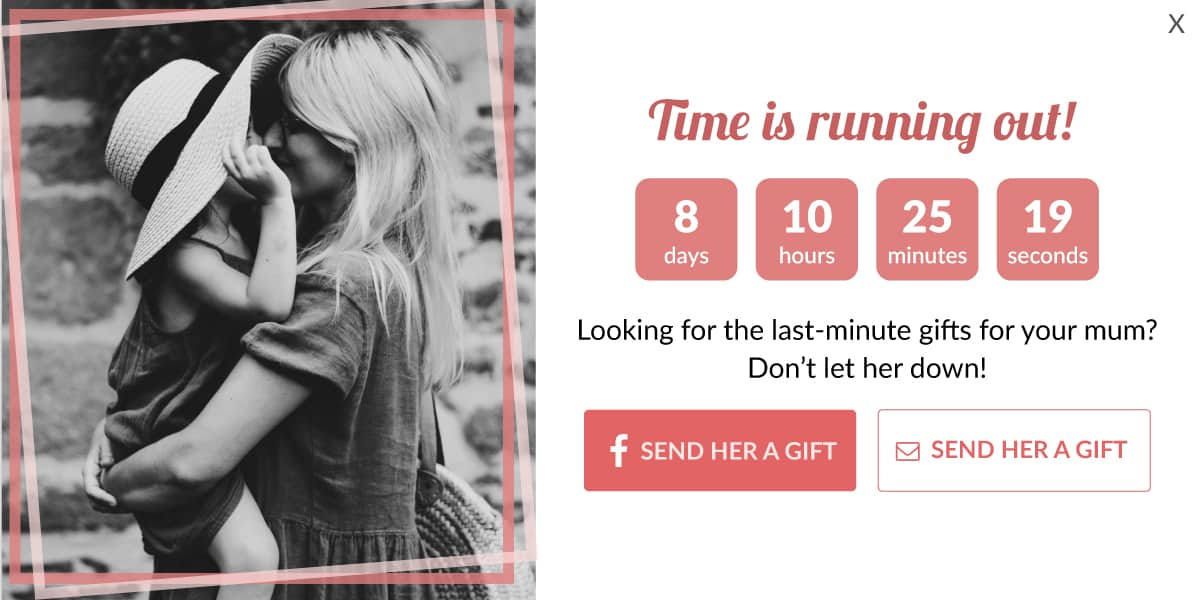 countdown timer popup for Mother's Day