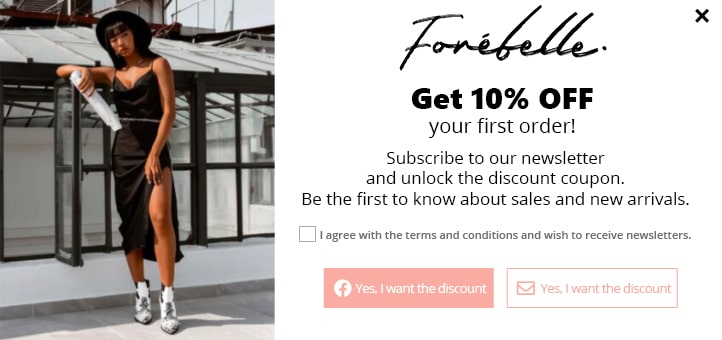 Welcome popup with a 10% OFF voucher on your first order