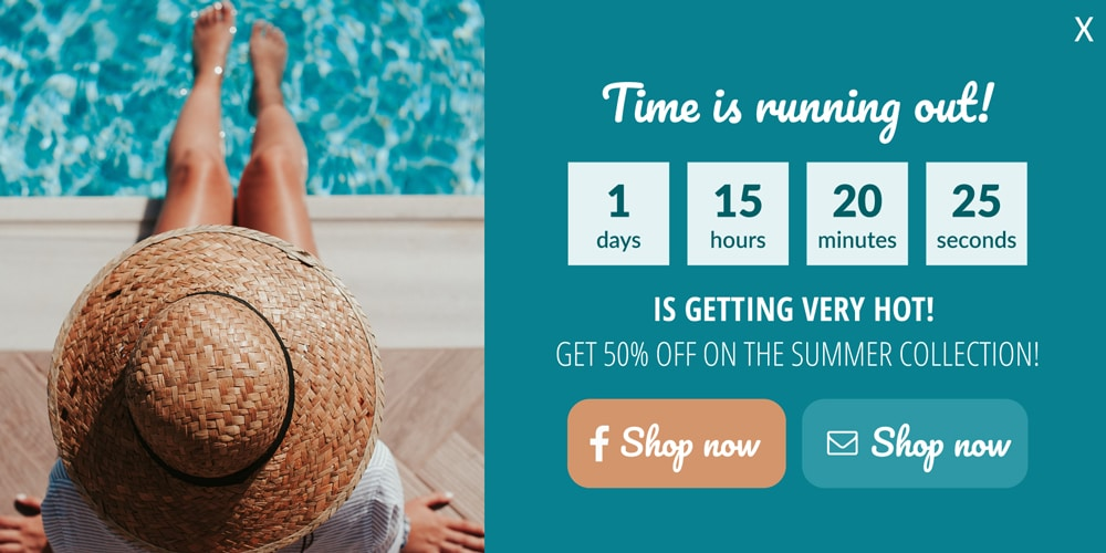 countdown timer popup for summer season