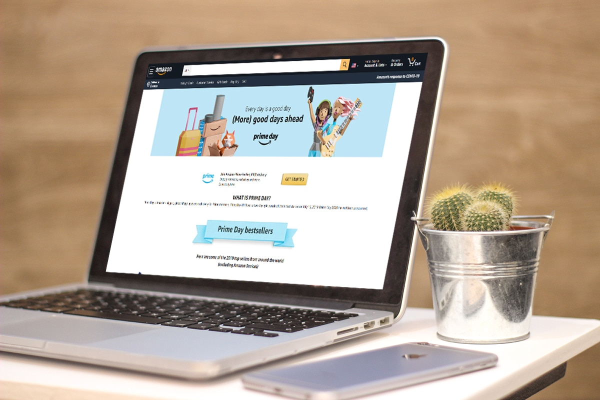 laptop with prime day landing page