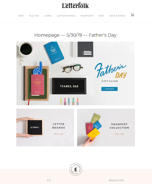 fathers day landing page