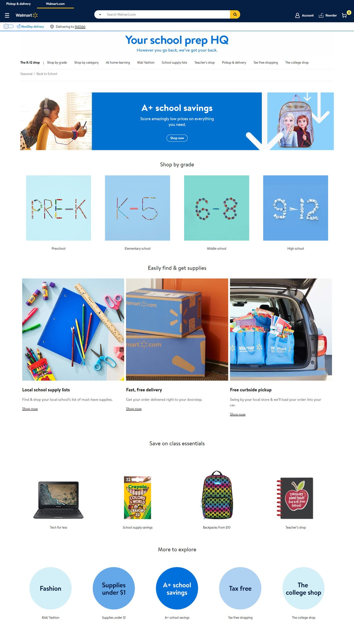 landing page for back to school campaign