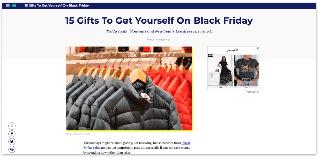 Affiliate blog posts and Black Friday gift guides