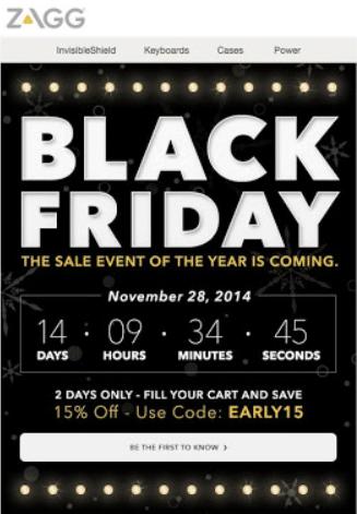 Black friday countdown timer