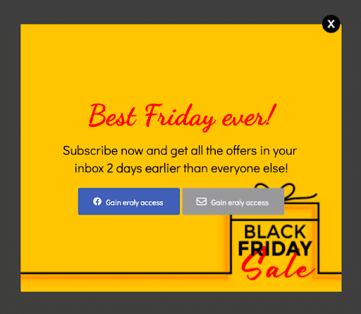 Black Friday pre sign-up campaign