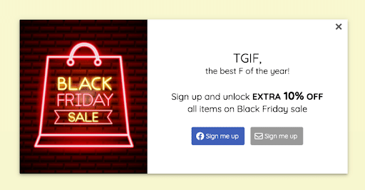Black friday cyber monday popup design example