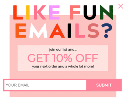 popup with discount