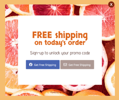 Socital popup for free shipping