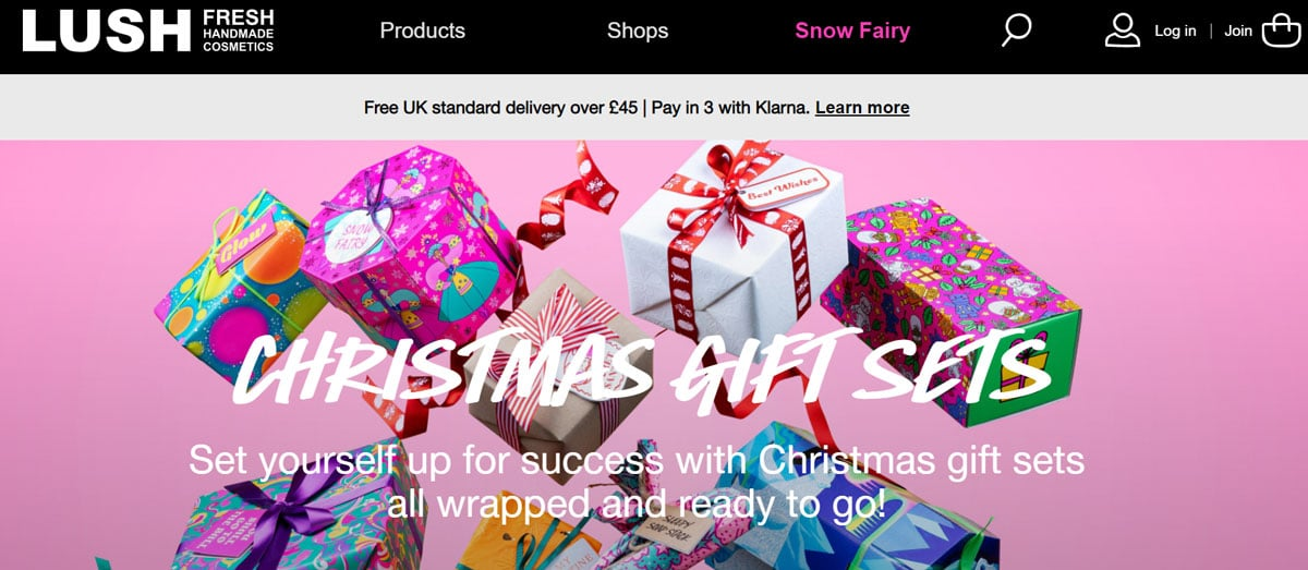 online retail and social media platforms holiday-themed