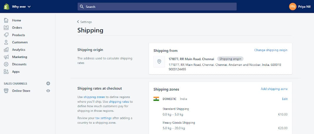 Customise Shipping and Taxes