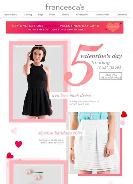 Pre-Valentine's Day email campaign