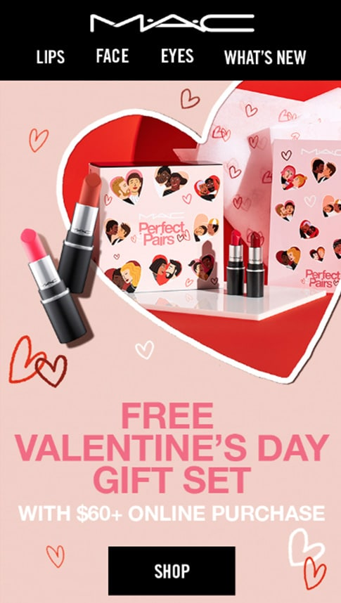 Free Valentine's Day gift with purchase