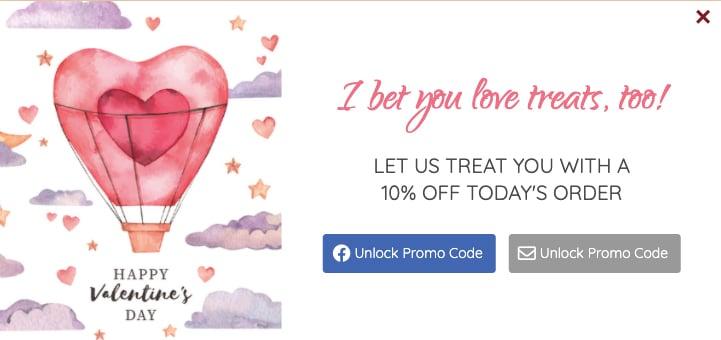 Valentines day popups
